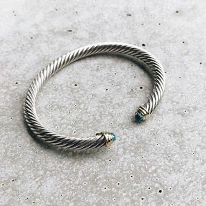 David Yurman Cable Bracelet Blue Topaz 14k, 5mm